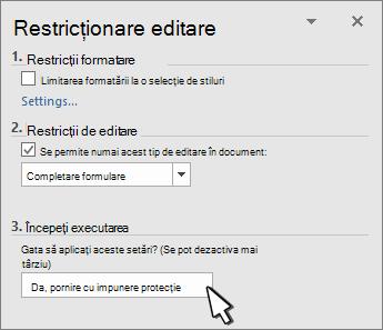 Restricționare panou de editare