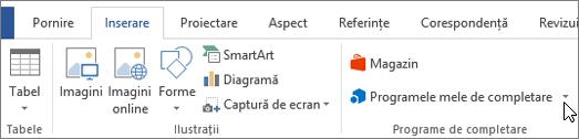 Captură de ecran a unei secțiuni din fila Inserare pe panglica Word cu o cursorul indicând spre meu Adăugare-uri selectați meu de completare pentru a accesa completare pentru Word.