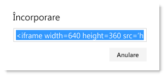 Cod de încorporare pentru un videoclip Office 365