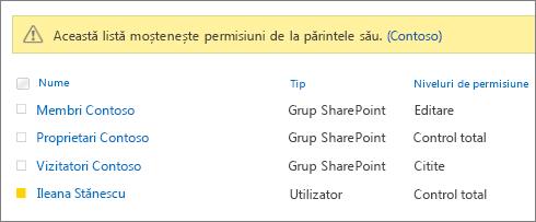 Anchetă permisiuni grupurilor și utilizatorilor