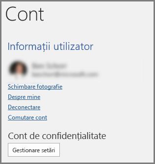 Panoul de cont care prezintă butonul Confidențialitate cont, Gestionare setări