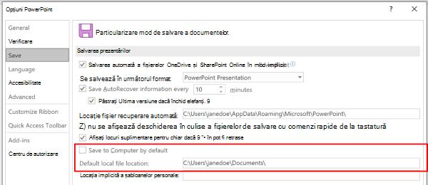 Captură de ecran a casetei de dialog Opțiuni PowerPoint care evidențiază secțiunea pentru a particulariza locația implicită