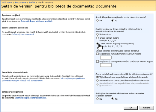 Setări versiune pentru a activa controlul versiunilor, aprobarea și care necesită arhivare
