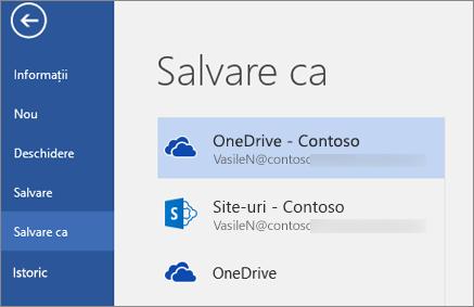 Salvarea unui document Word în OneDrive pentru business