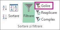 Butonul de eliminare a unui filtru