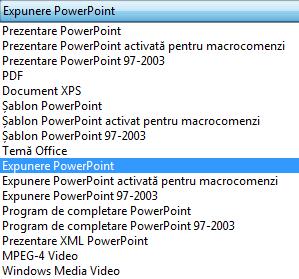 Salvați prezentarea ca Expunere PowerPoint.