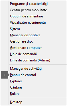 Options and commands list see after pressing Windows logo key + X