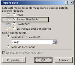 Caseta de dialog Opțiuni import