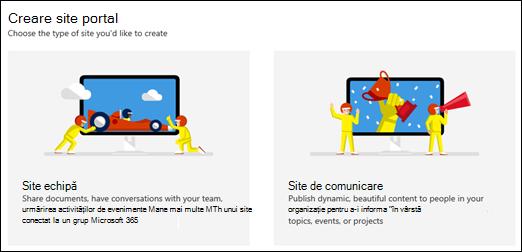 Alegerea unui tip de site în SharePoint Online