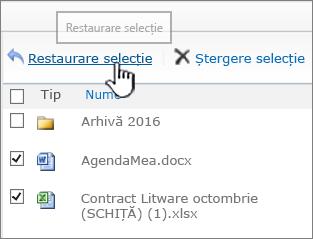 SharePoint 2010 cu elemente selectate și butonul Restaurare evidențiat