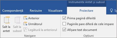Sub Instrumente Antet și subsol, pe fila Proiectare, în grupul Opțiuni, bifați sau debifați o opțiune.