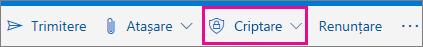 Outlook.com panglică cu buton de criptare evidențiată