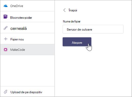 Casetă de dialog pentru denumirea unui fișier MakeCode și atașarea la o temă Microsoft Teams