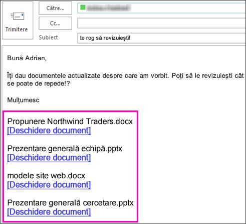 Includeți linkuri către documente în e-mailuri.