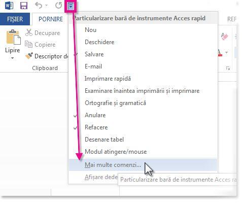 Personalizarea Barei de instrumente Acces rapid făcând clic pe Mai multe comenzi