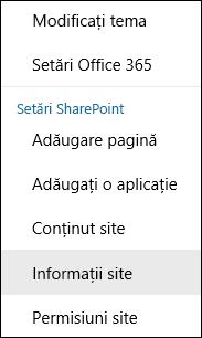 Captură de ecran afișând opțiunea de meniu Informații site din SharePoint.