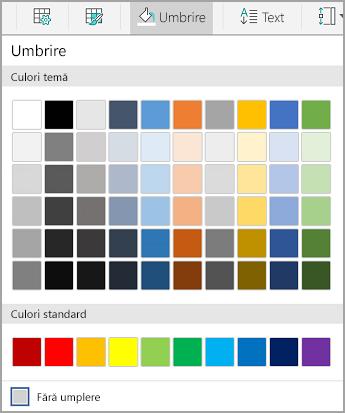 Opțiuni de umbrire Android tabel