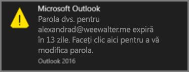 O imagine cu notificarea pe care o vede utilizatorul atunci când urmează să expire parola sa.