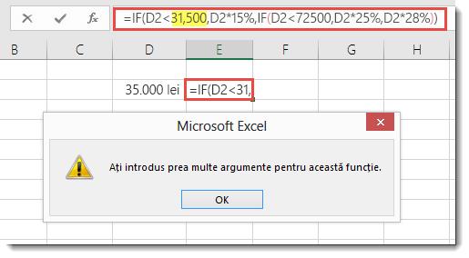 Mesaj Excel atunci când adăugați o virgulă la o valoare