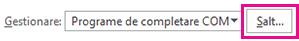 Faceți clic pe Salt pentru a deschide caseta de dialog programe de completare.
