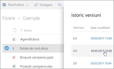 Captură de ecran a Istoricul versiunilor pentru o OneDrive pentru Business fișier care apar în panoul de detalii