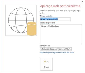 Caseta de dialog pentru o aplicație web nouă particularizată, afișând Site-ul de echipă Contoso în caseta Locații disponibile.