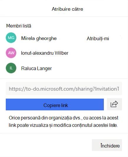 Captură de ecran care afișează meniul atribuire la deschis și opțiunea de a le atribui membrilor listei: Miriam Graham, Alex Wilber și Isaia Langer, precum și opțiunea de a copia și a partaja linkul listă.