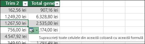 Opțiunea de a suprascrie formulele existente într-o coloană calculată, atunci când o formulă este diferită de restul