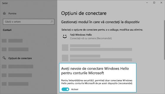Opțiunea de a utiliza Windows Hello pentru a vă conecta la conturile Microsoft activate.