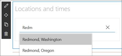 Partea Web ceas lume pentru site-urile SharePoint, introducerea unei locații și selectarea dintr-un meniu vertical cu rezultatele căutării