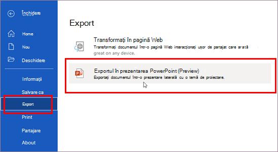 Export în prezentare