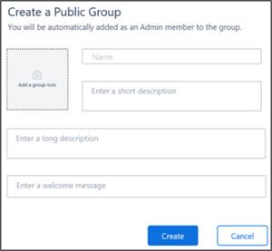 Captură de ecran: crearea unei pagini de grup public
