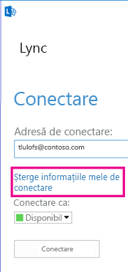 Conectarea Lync cu butonul Ștergere informații de conectare evidențiat