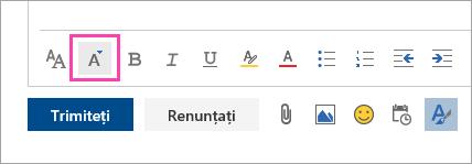 Captură de ecran a butonului Dimensiune Font
