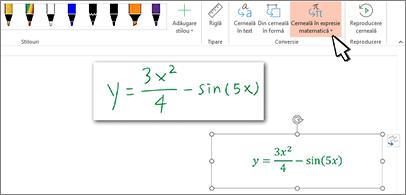 Ecuație scrisă de mână și aceeași ecuație convertită în text și numere formatate