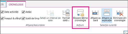 Opțiune pentru lățime activitate cronologie blocare pe fila cronologie