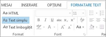 Opțiunile de formatare a mesajului din fila Formatare text