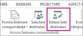Captură de ecran a filei Corespondență din Word, afișând comanda Editare listă destinatari evidențiată.