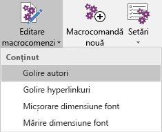 Meniul Edit Macros (Editare macrocomenzi) din Onetastic pentru OneNote