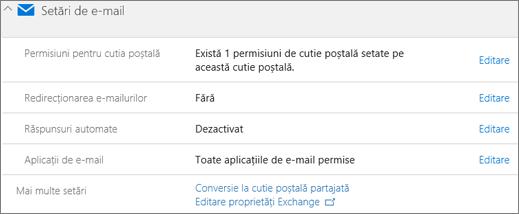 Captură de ecran: Conversia poștală a utilizatorului la cutii poștale partajate