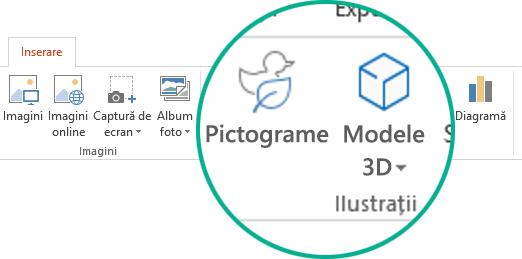 Butoanele pentru Pictograme și Modele 3D de pe fila Inserare din panglica de instrumente din Office 365