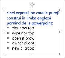 Formatarea într-o casetă text PowerPoint