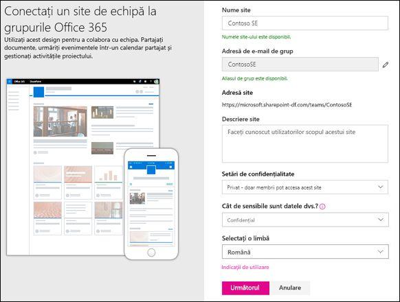 Creați un site de echipă SharePoint