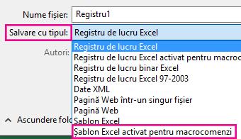 Alegeți șablon Excel activat pentru macrocomenzi.