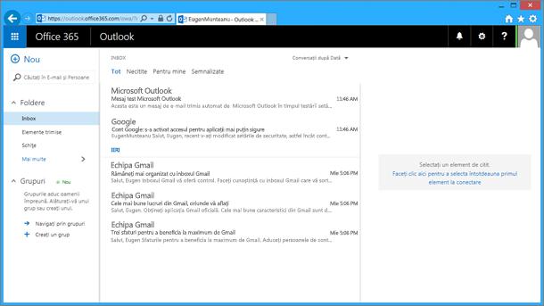 După ce importați e-mailurile din fișierul .pst, acestea vor apărea și în OWA