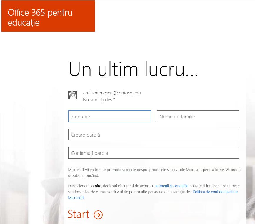 Captură de ecran a paginii de creare parole pentru Office 365 procesul de înregistrare.