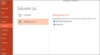 Adăugarea OneDrive ca loc