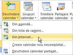 Comanda Deschidere calendar din Internet pe panglică