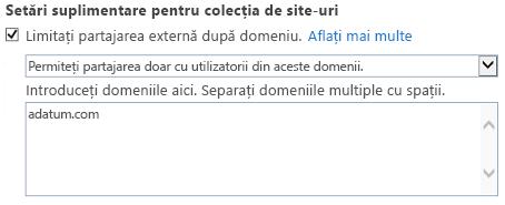 Captură de ecran a porțiunea domeniu restricționat setările de colecție de site-ul caseta de dialog.