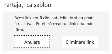 Butoanele anulare și eliminare link afișate.